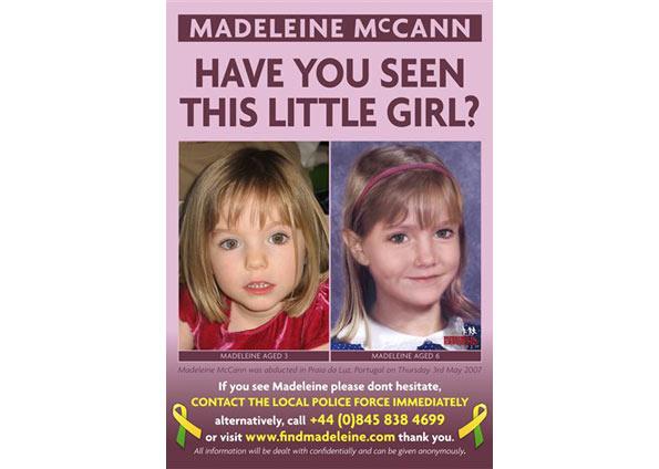 Pais de Madeleine divulgam cartaz com a projeção computadorizada de como a menina estaria hoje