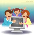 Pais e Crianças no computador / Fotosearch
